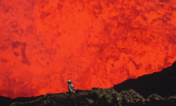 Channel 1: A man walks into an active volcano